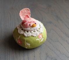 Pink and Green Floral Bird Pincushion Pin Cushion Floral Pin Keep