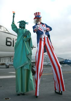 Uncle Sam and Statue of Liberty stilt walkers by San Diego Spotlight Entertainment