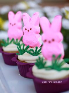 Paper and Cake | easter = peeps | cupcakes with peep toppers