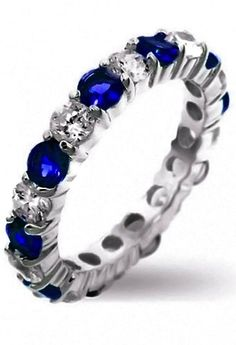 Dazzling Blue Sapphire Ring - This ring looks exactly like my wedding band!! Had my jeweler use my great grandmothers sapphires!