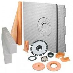 Schluter KERDI-SHOWER 32 in. x 60 in. ABS Off-Center Shower Kit with Brushed Nickel Drain - Ducting Components - Amazon.com