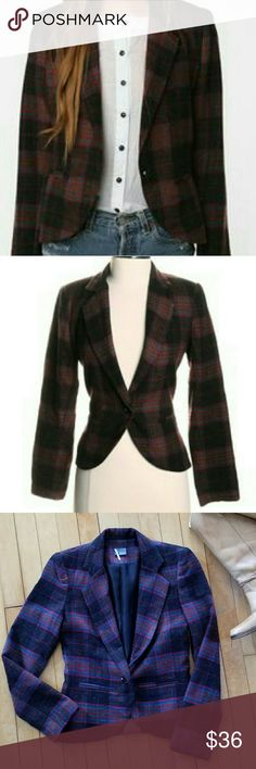 """Sparkle & Fade Cropped Plaid Blazer Sparkle & Fade Cropped Plaid Blazer. Single button, nonfunctional pockets.  Size xs. 16"""" from arm pit to arm pit. 21"""" inches from shoulder to hem. 22"""" arm length.  Excellent used condition. No flaws. Acrylic wool blend Sparkle & Fade Jackets & Coats Blazers"""