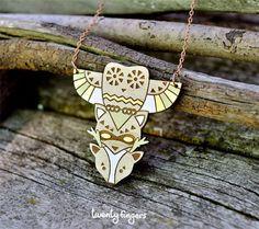 Totem wood pendant owl raccoon deer laser cut by TheTwentyFingers
