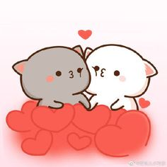 蜜桃猫 Cute Love Pictures, Cute Love Gif, Cute Bear Drawings, Kawaii Drawings, Chibi Cat, Cute Chibi, Gif Mignon, Cute Cat Illustration, Cute Love Cartoons