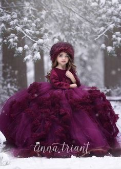 Winter Jewel Gown by Anna Triant Couture All our beautiful gowns at Anna Triant Couture, Page 9 Baby Girl Party Dresses, Dresses Kids Girl, Baby Dress, Kids Outfits, Flower Girl Dresses, Little Girl Gowns, Gowns For Girls, Kids Gown, Princess Dress Kids