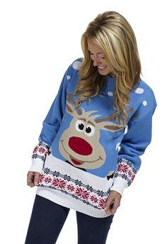 kersttrui Rudolph blauw - Kersttrui kopen - Bestel nu uw foute kersttruien online