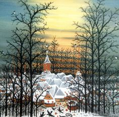 ivan lacković -' winter', oil on glass - naïve art in Croatia