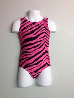 gymnastics leotard - Hot Pink and Black Zebra leotard with keyhole back, available in Girls sizes 2 through 13. on Etsy, $22.00