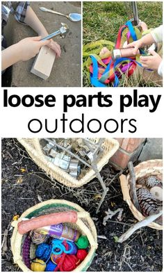 If you are new to loose parts play it can be a little daunting to decide where to start. I decided to begin in a location that naturally inspires creativity while providing a plethora of free materials: the outdoors! In this loose parts play series post, Outdoor Education, Outdoor Learning Spaces, Outdoor Play Areas, Nature Activities, Outdoor Activities For Kids, Toddler Activities, Outdoor Games, Play Based Learning, Fun Learning