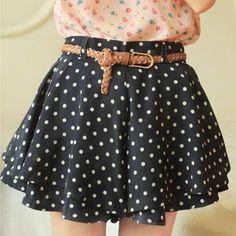 Fashion Sweet Girl Polka Dot Skirts Women Retro Pleated Short Skirt With Belt Mini Chiffon Women's Skirt Clothing Y57*E3311#C5 - http://www.freshinstyle.com/products/fashion-sweet-girl-polka-dot-skirts-women-retro-pleated-short-skirt-with-belt-mini-chiffon-womens-skirt-clothing-y57e3311c5/