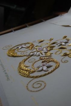 Pretty goldwork. Learn how to embroider goldwork like this from experts who work for Chanel, Louis Vuitton and more at https://www.mastered.com/course-listings/3