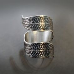 Etched Fern Curl - Sterling Silver Ring - Nature Jewelry  By Lisa Hopkins