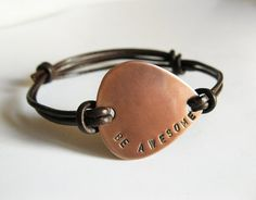 Mens Copper Guitar Pick Bracelet, Leather Bangle - Personalized Hand Stamped Custom Message - Men, Groomsmen, Boyfriend, Anniversary Gift. $28.00, via Etsy.