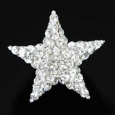 New Star Charming Silver Color Clear Crystal Rhinestone Metal Brooch Pins