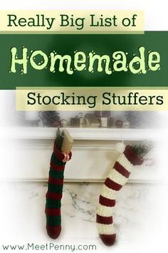 Looking for a homemade Christmas gift? Check out this HUGE list that's broken down into helpful categories.  stocking stuffers