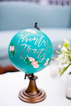 30 Travel Themed Wedding Ideas You'll Want To Steal Painted Globe Decor / www. Tiffany Blue, Azul Tiffany, Painted Globe, Hand Painted, Feeds Instagram, Globe Art, Travel Themes, Blue Wedding, Tiffany Wedding