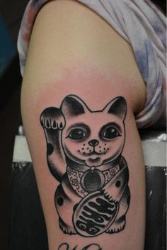Lucky Cat tattoo done in Forever More Glasgow & London--This is awesome!!