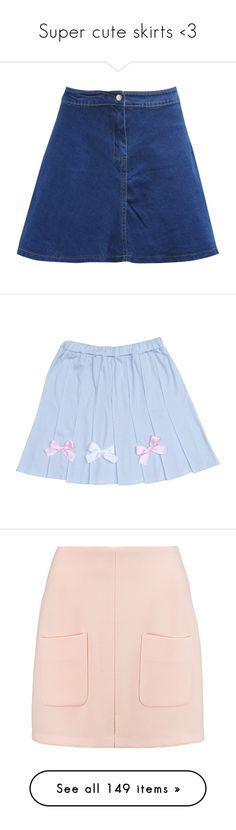 """Super cute skirts <3"" by sannannanna ❤ liked on Polyvore featuring skirts, bottoms, blue, blue flared skirt, short flared skirt, knee length denim skirt, flare skirts, blue denim skirt, clothing - skirts and blue skirt"