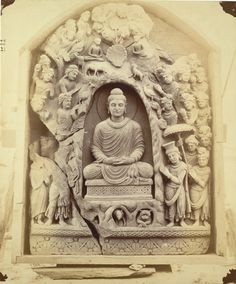 Buddhist sculpture slab excavated at Lorian Tangai, Peshawar District: Indra worshipping Buddha 10031057