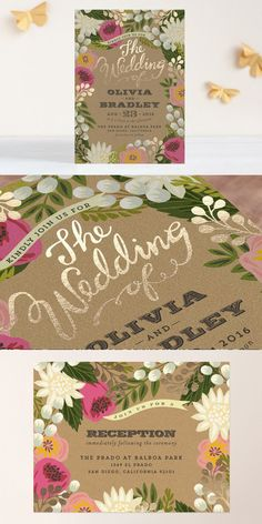 Gorgeous floral invite with gold foil! #RSVP