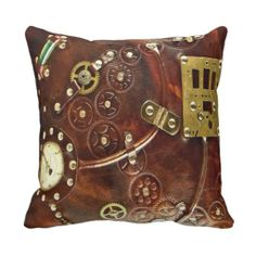 Steampunk Design Throw Pillows