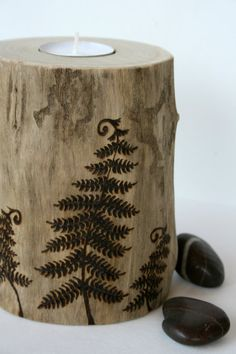 Woodland Ferns Driftwood Tealight Holder - Woodburning