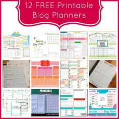 Fun roundup of 12 Free Printable Blog Planners