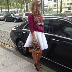 Good morning Ootd in: Kenzo pull H&M skirt Paola Cademartori bag