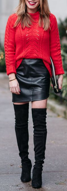 #winter #outfits red long-sleeved top with black leather mini skirt outfit