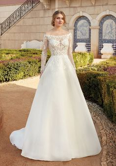 Wedding Dress out of Sincerity Bridal (44238), silhouette ball gown, neckline off-the-shoulder, floor, long sleeve Wedding Dress Pictures, Dream Wedding Dresses, Designer Wedding Dresses, Bridal Dresses, Wedding Gowns, Sincerity Bridal, Allure Bridals, Justin Alexander, A Line Gown