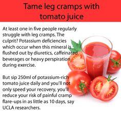 Tame leg cramps with tomato juice