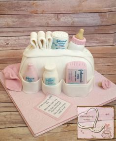 Baby bag cake for a baby shower.