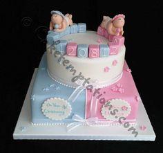 Boy & Girl christening cake - Cake by Cake Temptations (Julie Talbott) Baby Shower Desserts, Baby Shower Cakes, Baby Girl Shower Themes, Baby Boy Shower, Gateau Baby Shower Garcon, Baby Reveal Cakes, Twin Birthday Cakes, Girl Christening, Christening Cakes