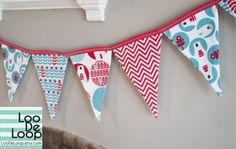 Winter Christmas Bunting Garland Banner in Red Aqua by LooDeLoop