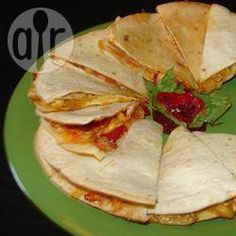 Pesto Chicken Quesadillas - uses up spare torilla. Don't keep heat too high or they burn.