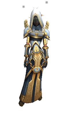 "Avatar Raiment - my all time favorite. Only i always change the shoulders and hide the helmet. Also available in dark blue. I think, it's a pretty badass ""battle armor"" for a priest"