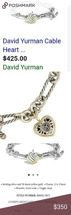 David Yurman Cable Heart Link Bracelet with gold Item number shown in photos.  This item is used and is in mint condition.  Will include a jewelry pouch for travel. Item has been freshly polished - professionally and it stunnimg.  Silver and 14kt yellow gold David Yurman Jewelry Bracelets