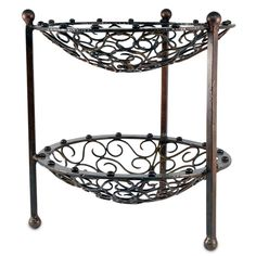 Mariano Double Tiered Forged Metal Utility Stand - 13-in