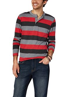Red/Gray Rugby Striped Slub Henley | rue21