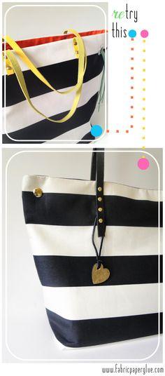 Fabric Paper Glue   DIY Striped Tote Bag Tutorial Remix