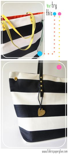 Fabric Paper Glue | DIY Striped Tote Bag Tutorial Remix