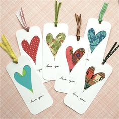 DIY- fabric heart bookmark to your valentine- or make it a gift tag with a book you give as a gift. Mothers Day Crafts, Valentine Day Crafts, Holiday Crafts, Crafts For Kids, Valentine Activities, Homemade Valentines, Valentine Nails, Valentine Ideas, Diy Wedding Thank You Cards