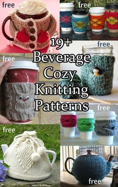 Beverage Cozy / Cosy Knitting Patterns for coffee, tea, and more More
