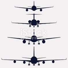 Airplanes silhouette front view, aircraft vector icon set Silhouette Tattoos, Silhouette Painting, Silhouette Cameo Projects, Airplane Sketch, Airplane Drawing, Free Vector Art, Vector Icons, Aviation Tattoo, Aviation Logo