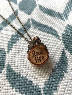 Custom Made Wood Burned Birch Disc Necklace by FancyAsFek on Etsy