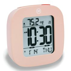 Marathon Watch Company Marathon Compact Alarm Clock with Temperature and Date Color: Pink