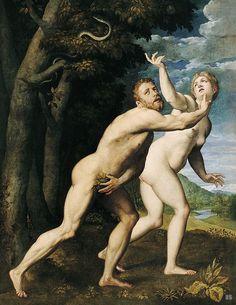 Adam and Eve. 16th.century. Giuseppe della Porta Salviati. Italian. 1520-1575. Oil on canvas.