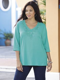 Plus Size Womens Clothing - Daisy Days Crochet Accent Knit Tee