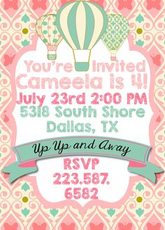 Hot Air Balloon Birthday Party Invitations, Invites, Shabby Chic, Pink & Mint- PLEASE READ THE INFO BELOW!! I TRY TO ANSWER ANY ?? YOU MAY