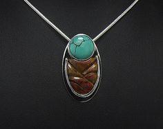 Poppy-Hill-Jasper-WithTurquoise-Pendant-Beautiful-Piece-925-Sterling